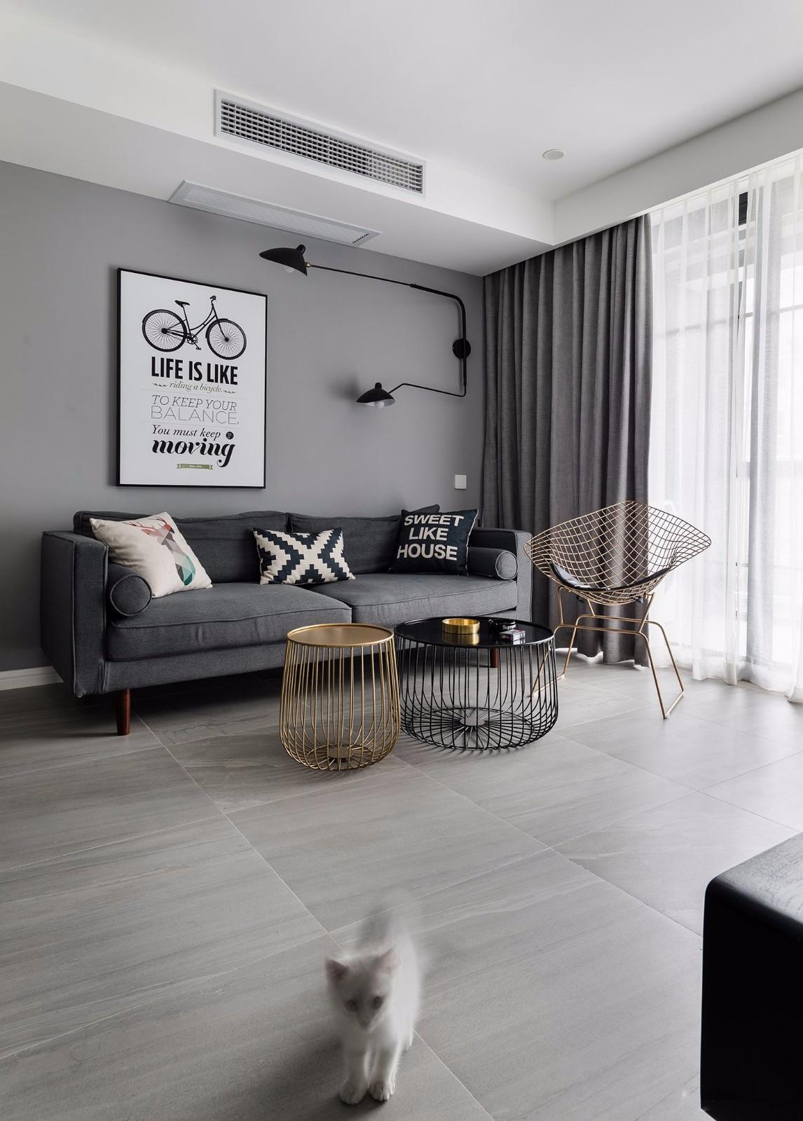 80㎡北欧风格两居沙发背景墙装修效果图