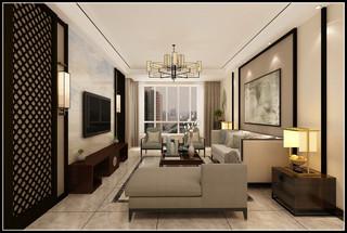 130㎡新中式风格客厅装修效果图