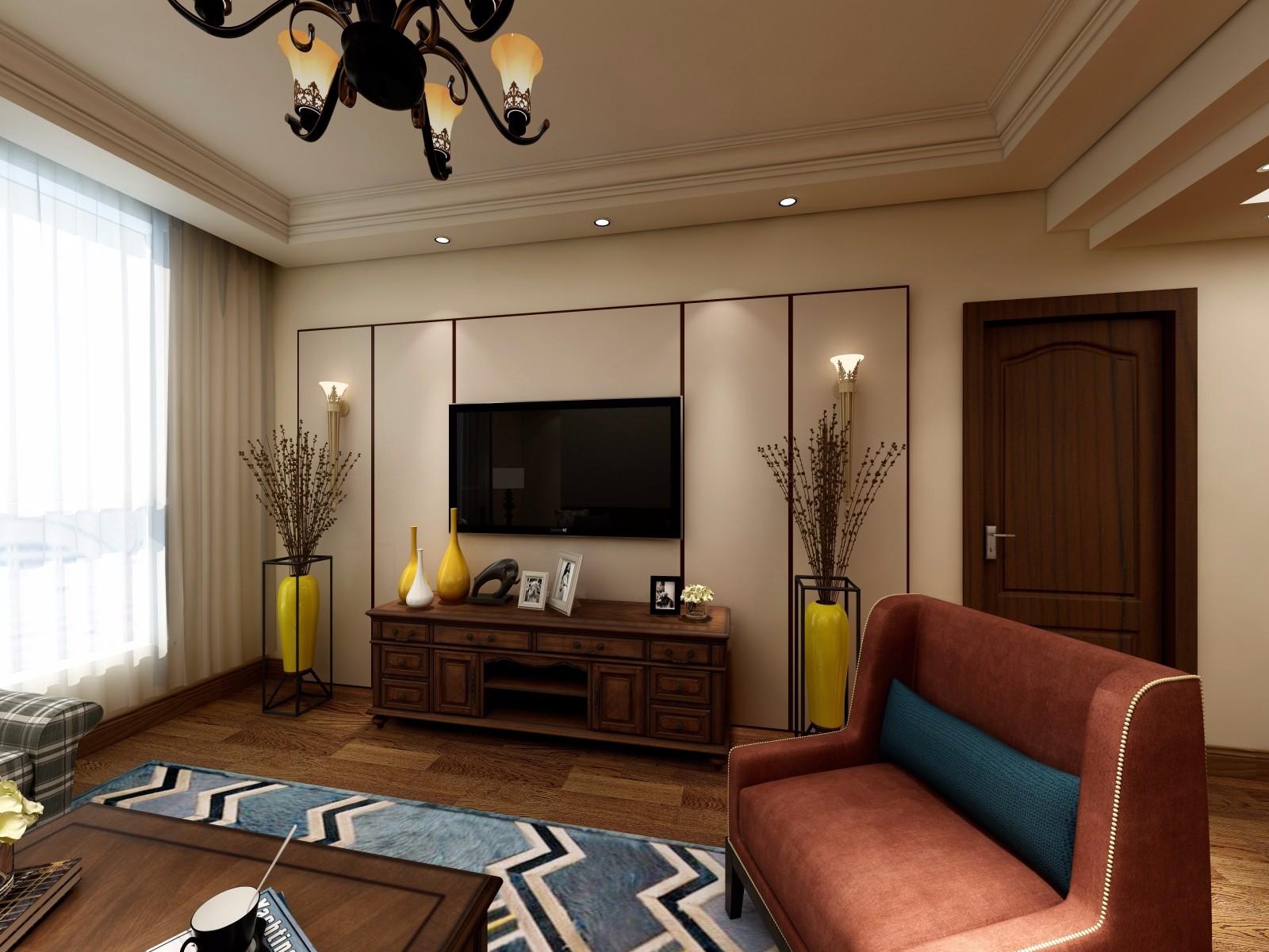 美式风格三居电视背景墙装修效果图