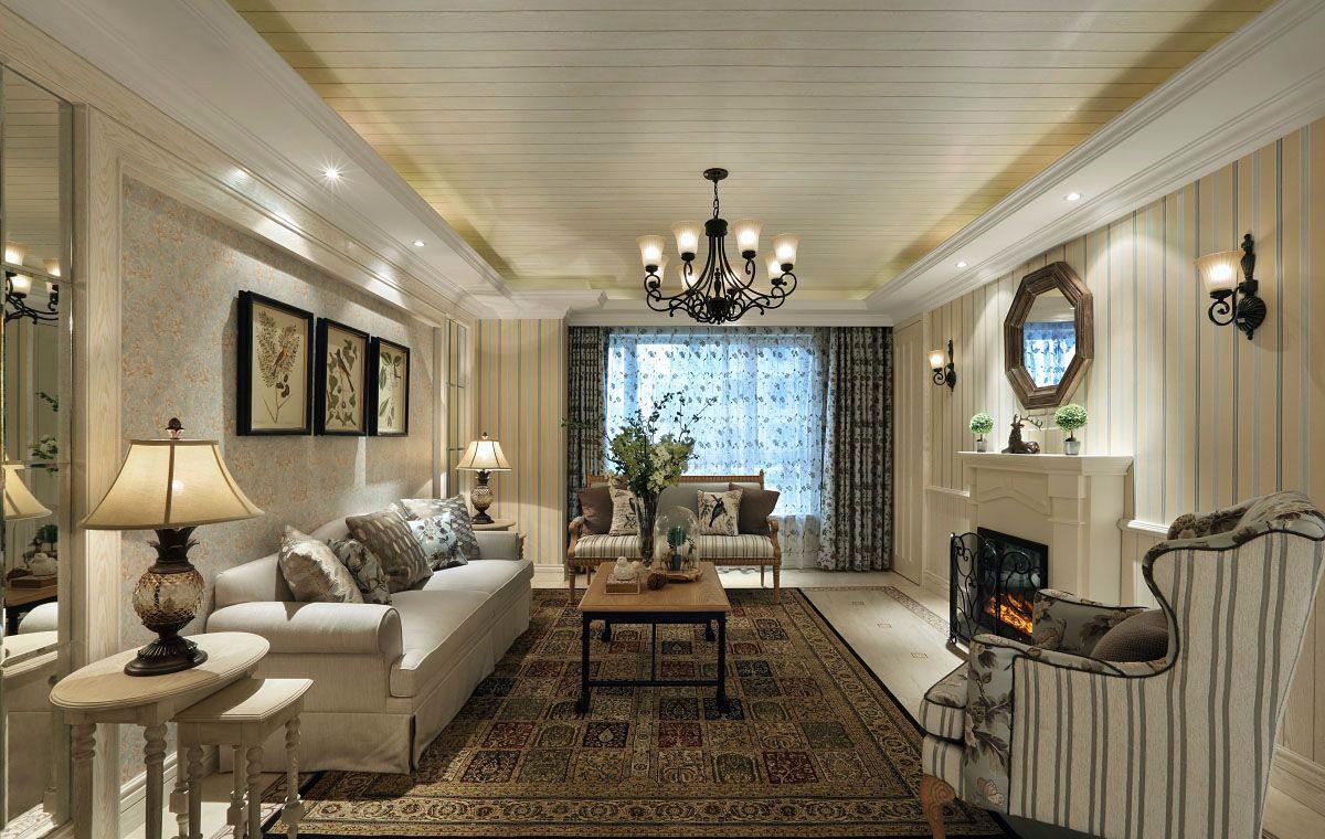 三居室美式田园风格客厅装修效果图
