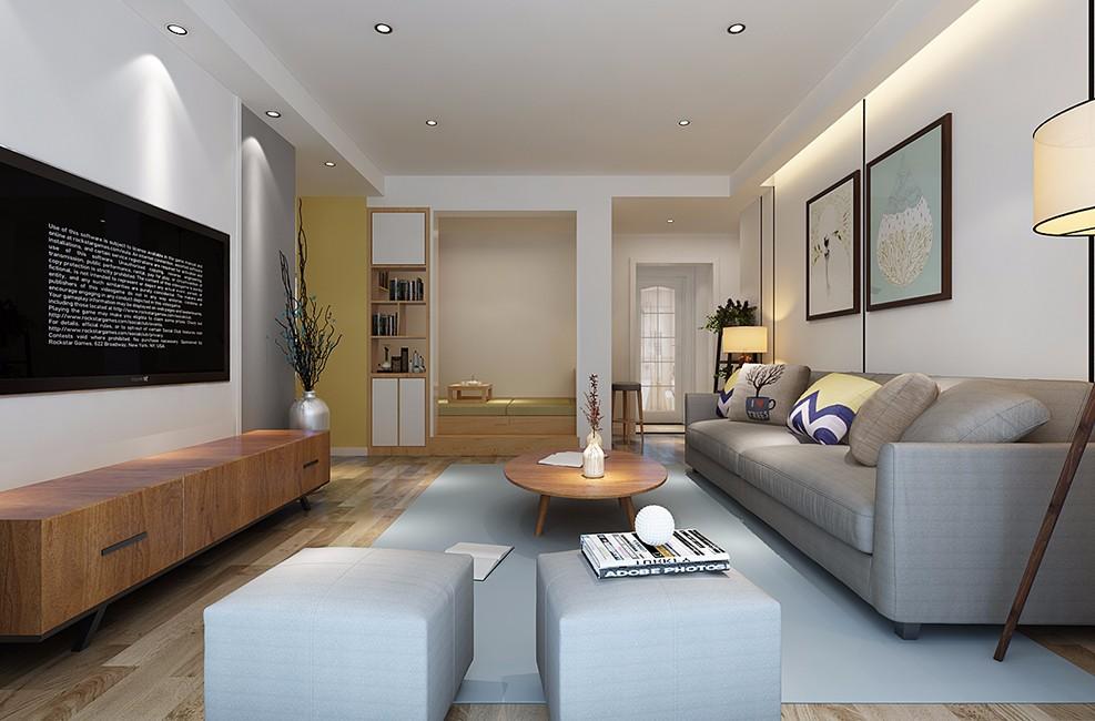 现代北欧混搭客厅装修效果图