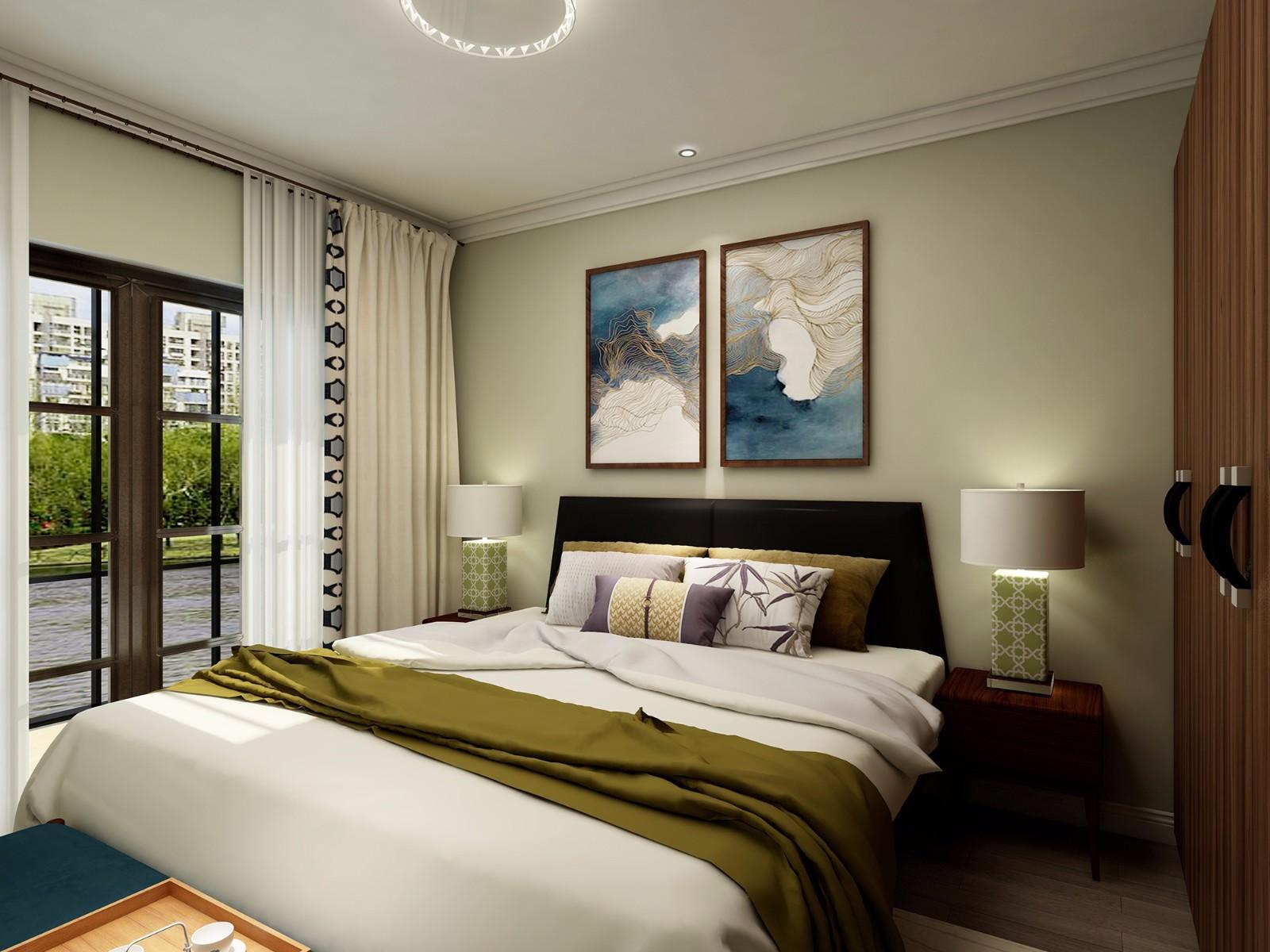 简约中式风格卧室装修效果图