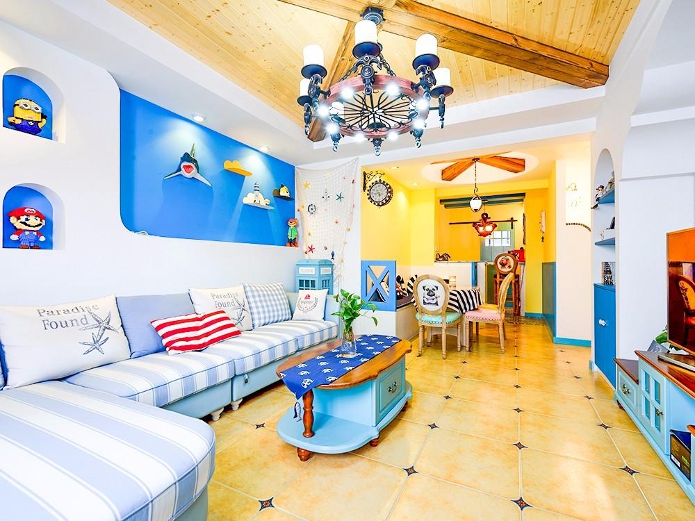 88平地中海风格客厅装修效果图
