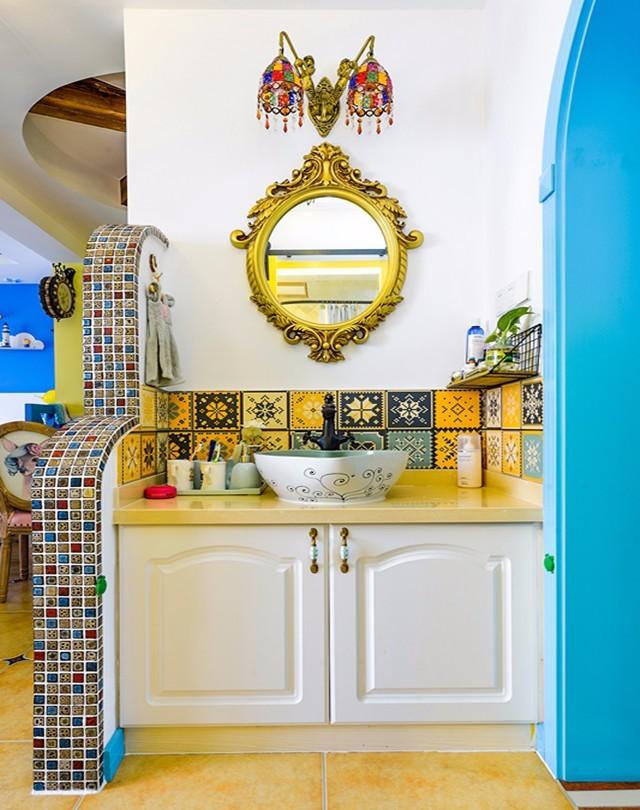 88平地中海风格洗手台装修效果图