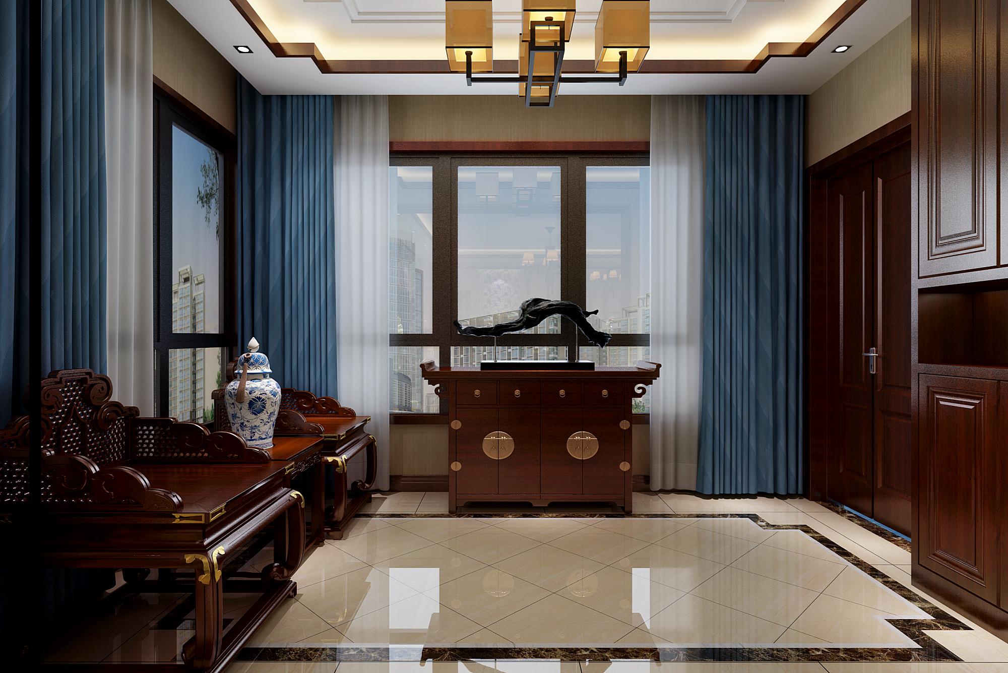 新中式风格门厅设计效果图