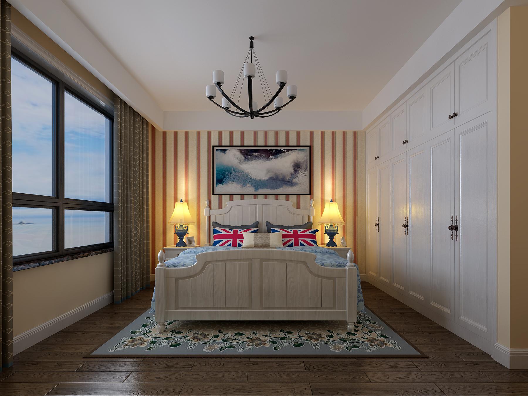 三居室美式风格卧室每日首存送20