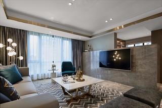 轻奢现代三居室电视背景墙装修效果图