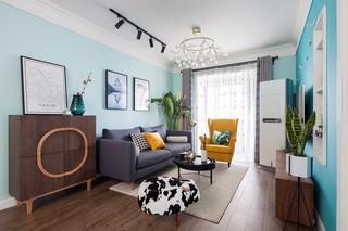 蓝色北欧风格沙发背景墙装修效果图