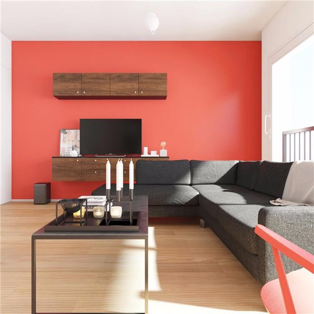 简约小户型公寓红色电视背景墙装修效果图
