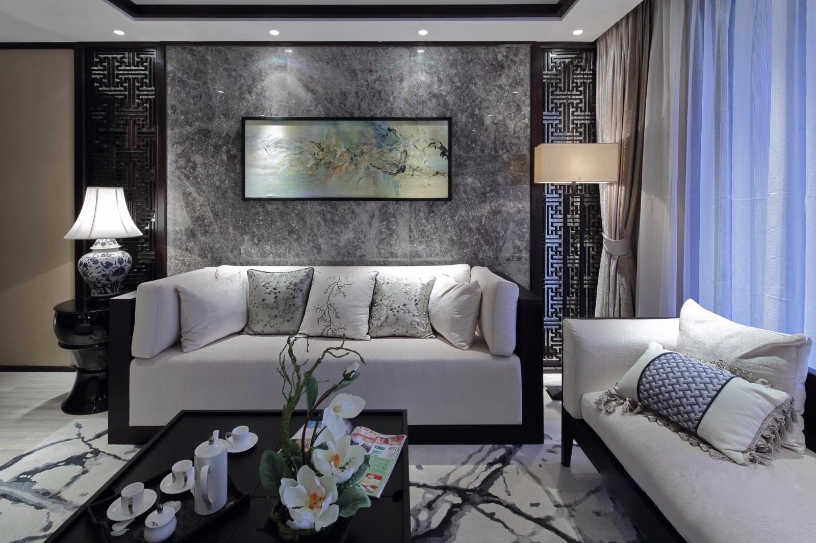 三居室新中式风格沙发背景墙装修效果图