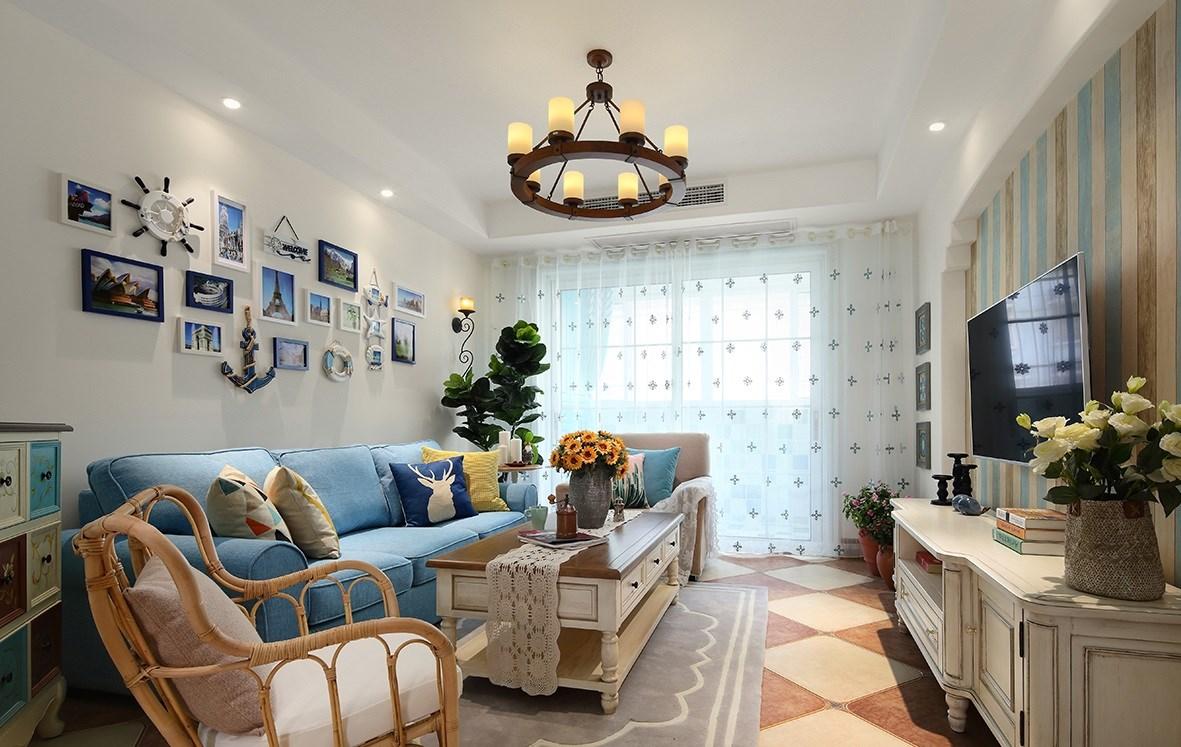 二居室地中海风格客厅装修效果图