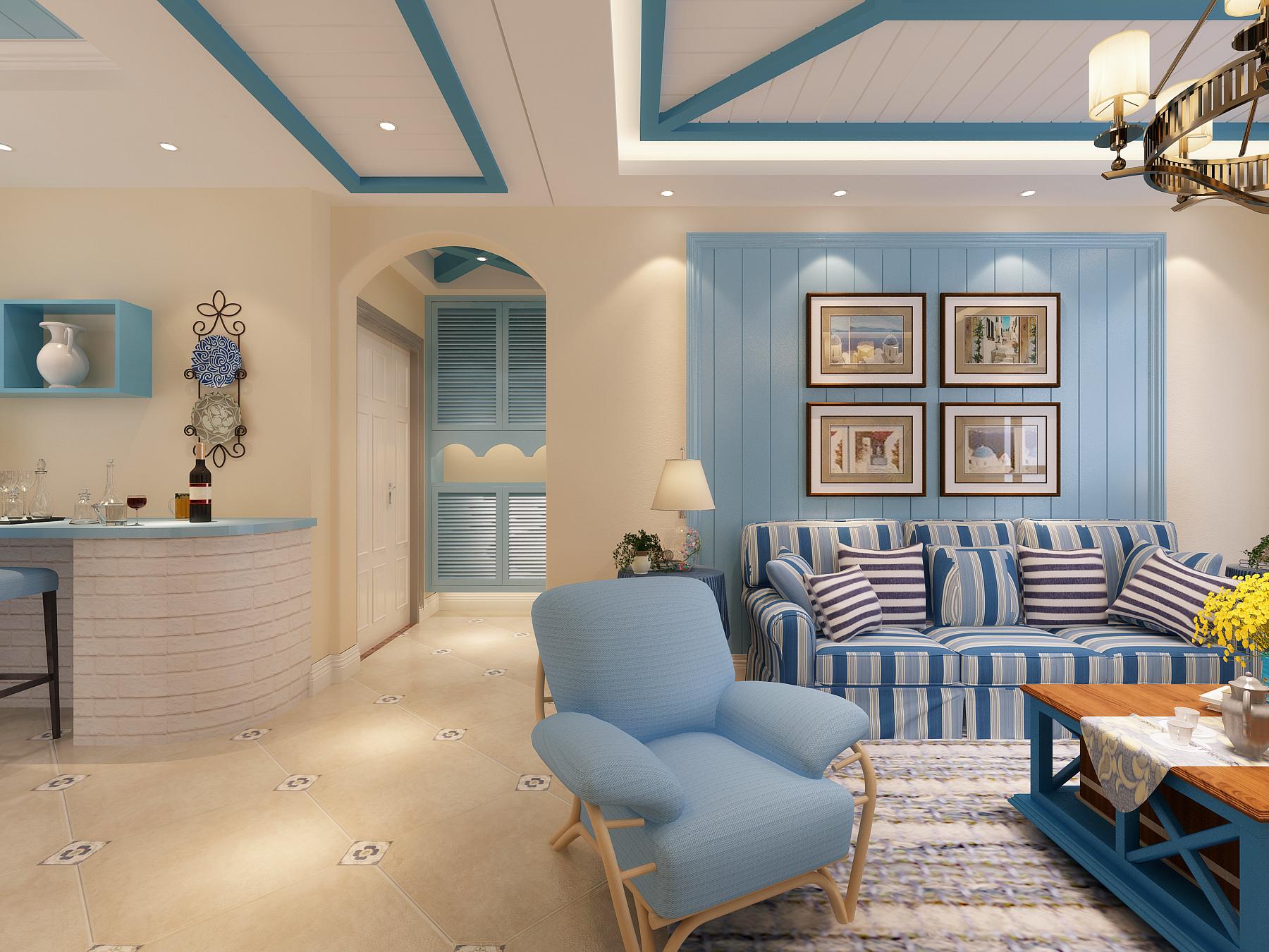 地中海风格沙发背景墙装修效果图