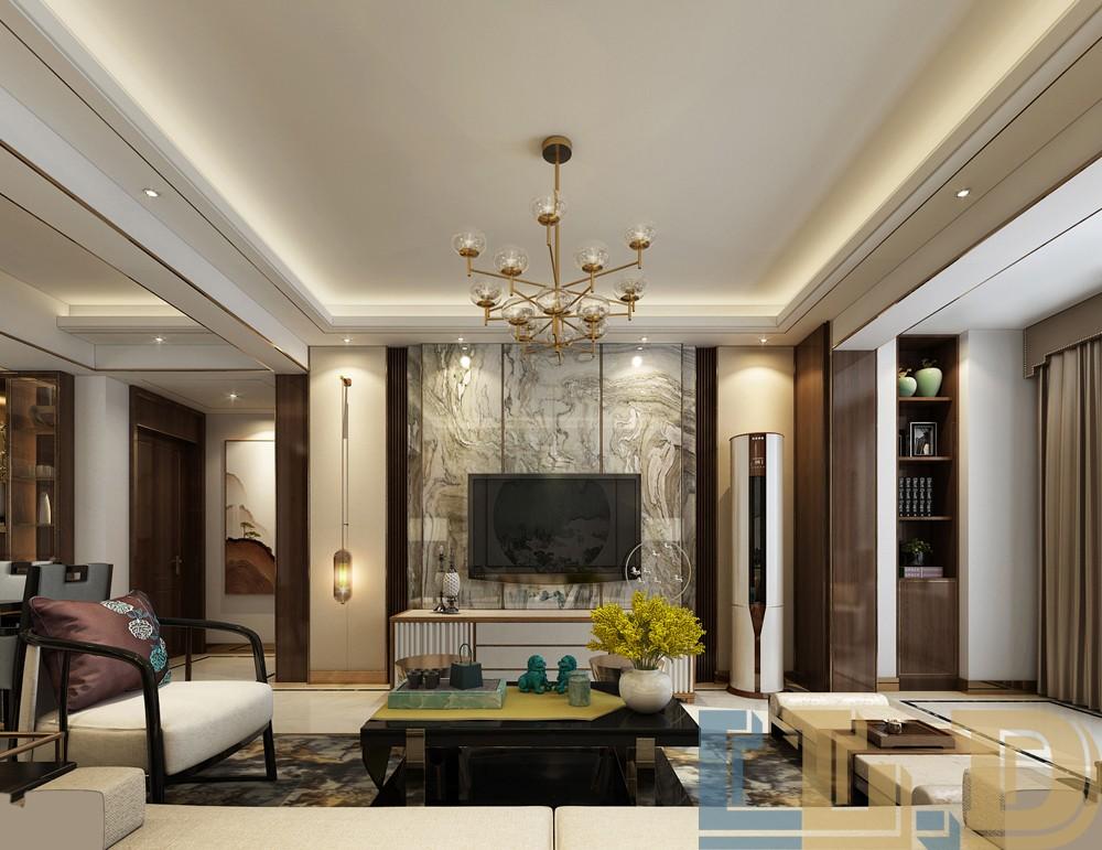 奢华新中式风格电视背景墙装修效果图