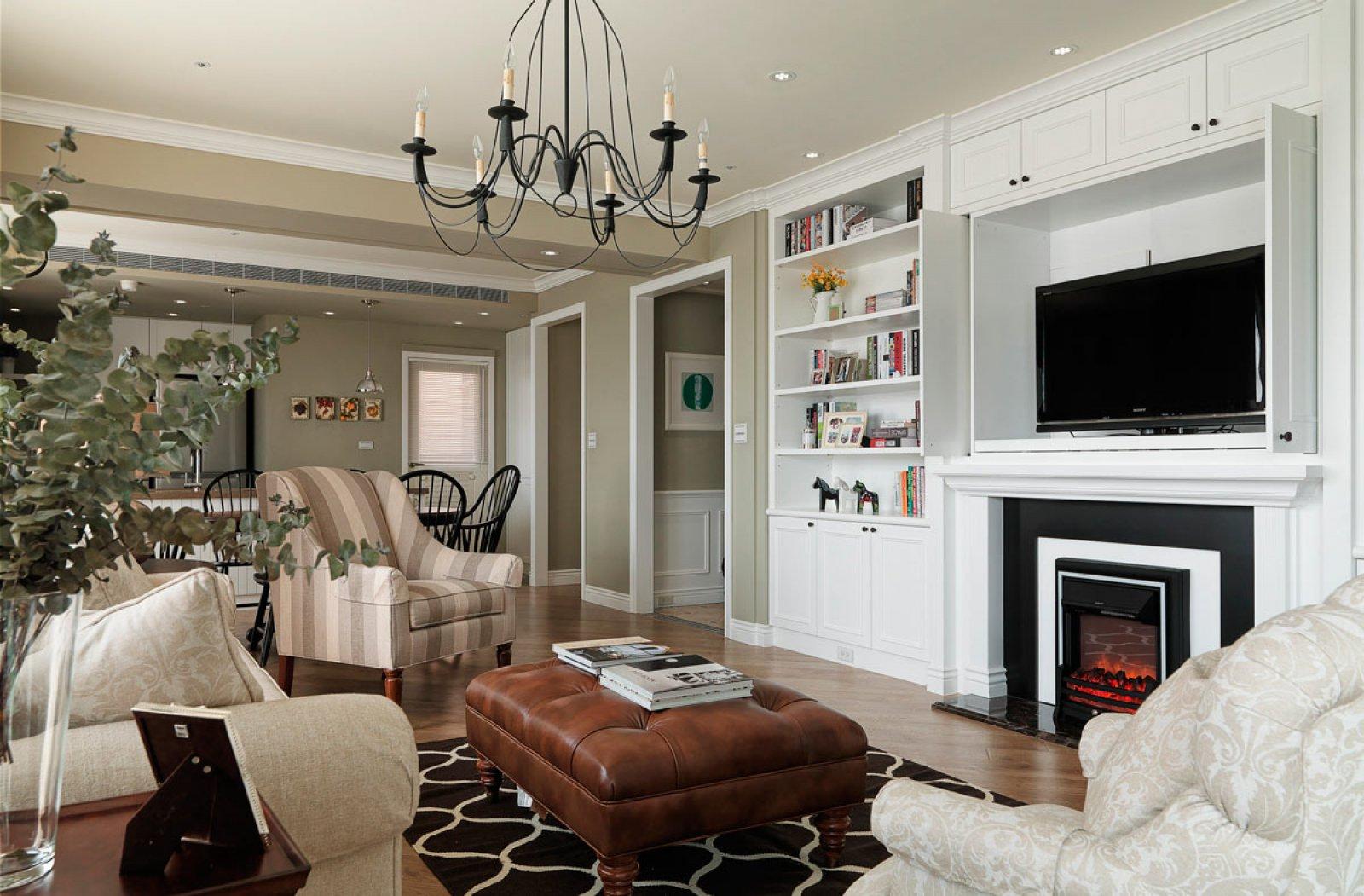 轻美式风格三居客厅装修效果图