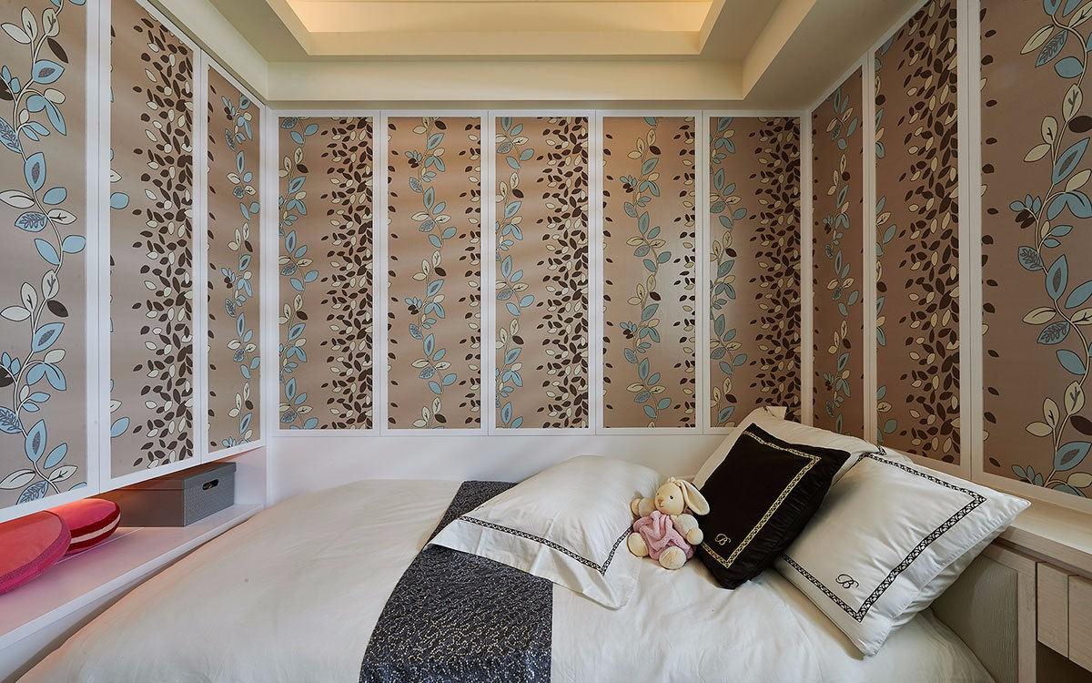 三居室简欧风格墙纸装修效果图