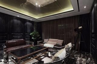 黑色調后現代風格客廳裝修效果圖