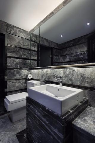 黑色调后现代风格洗手台装修效果图