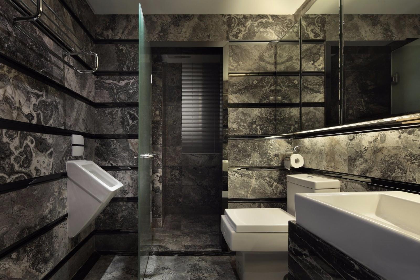 黑色调后现代风格卫生间装修效果图