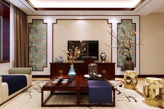 130㎡新中式电视背景墙装修效果图