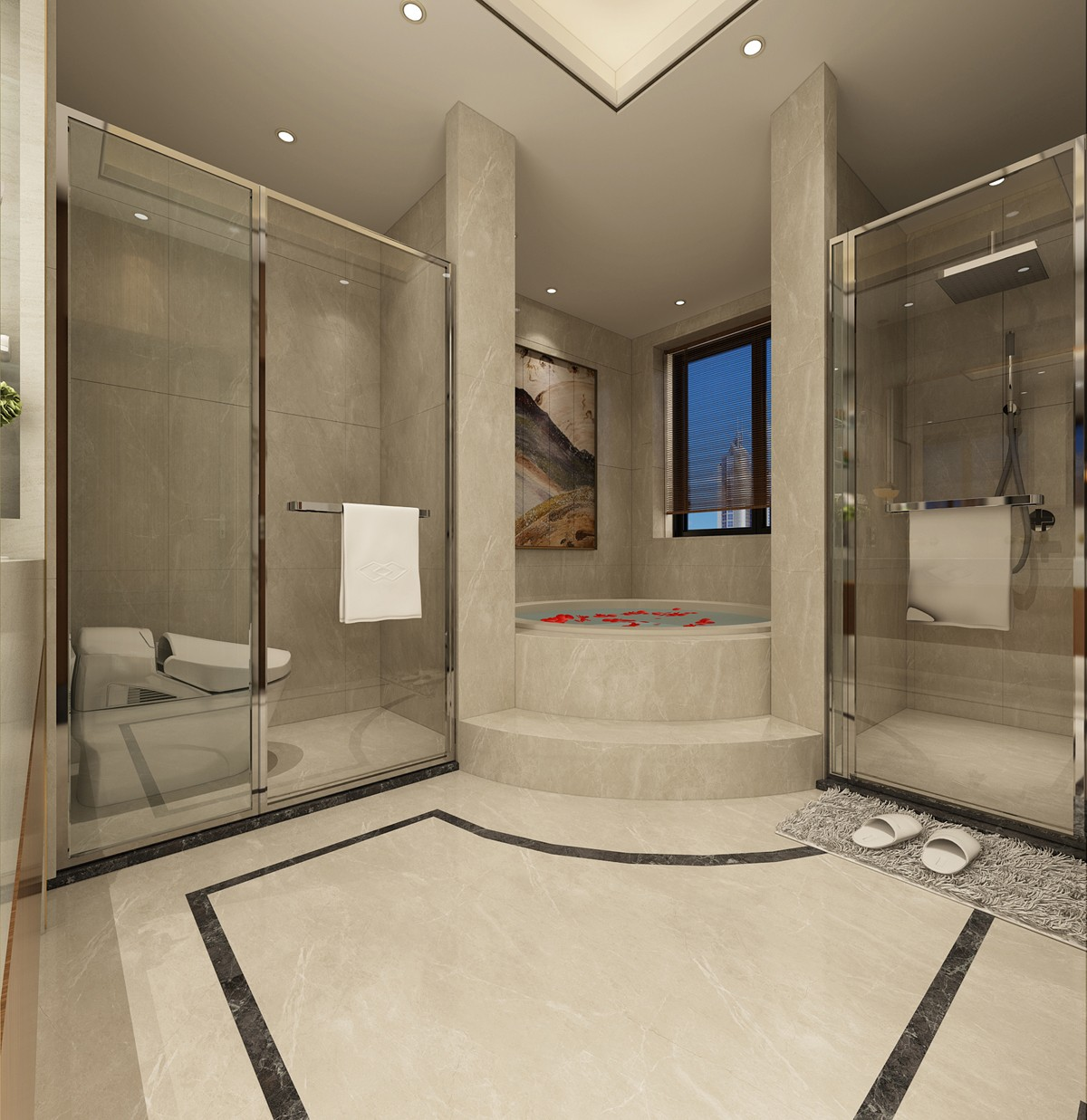 简约中式别墅卫生间装修效果图