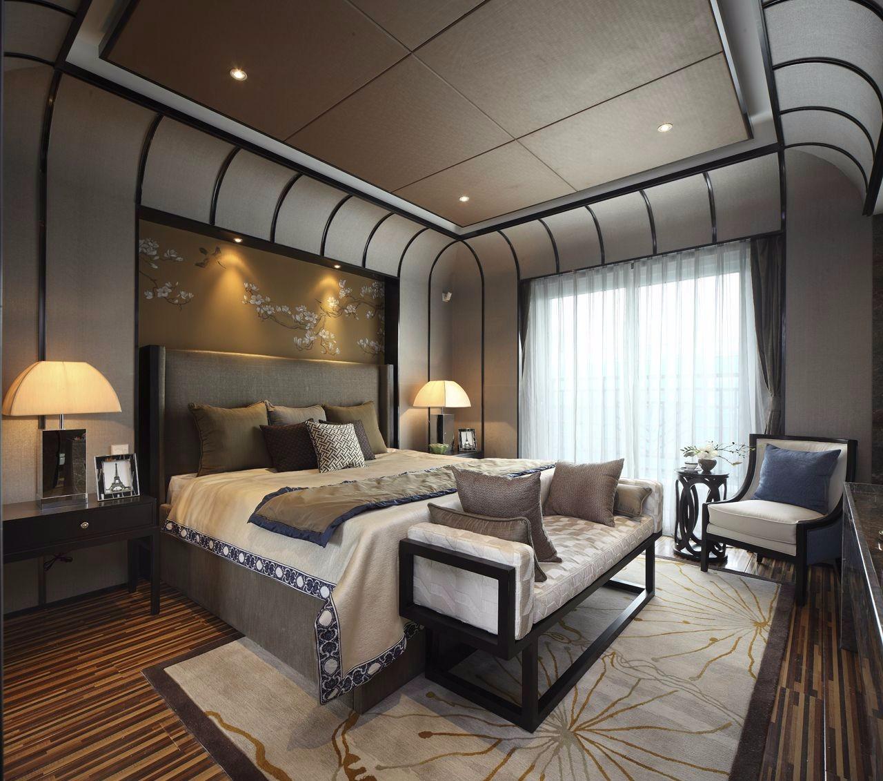 新中式别墅卧室装修设计图