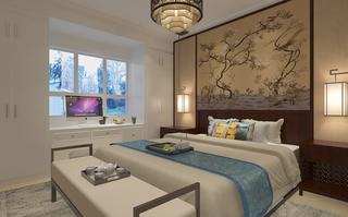 現代中式風格臥室裝修效果圖