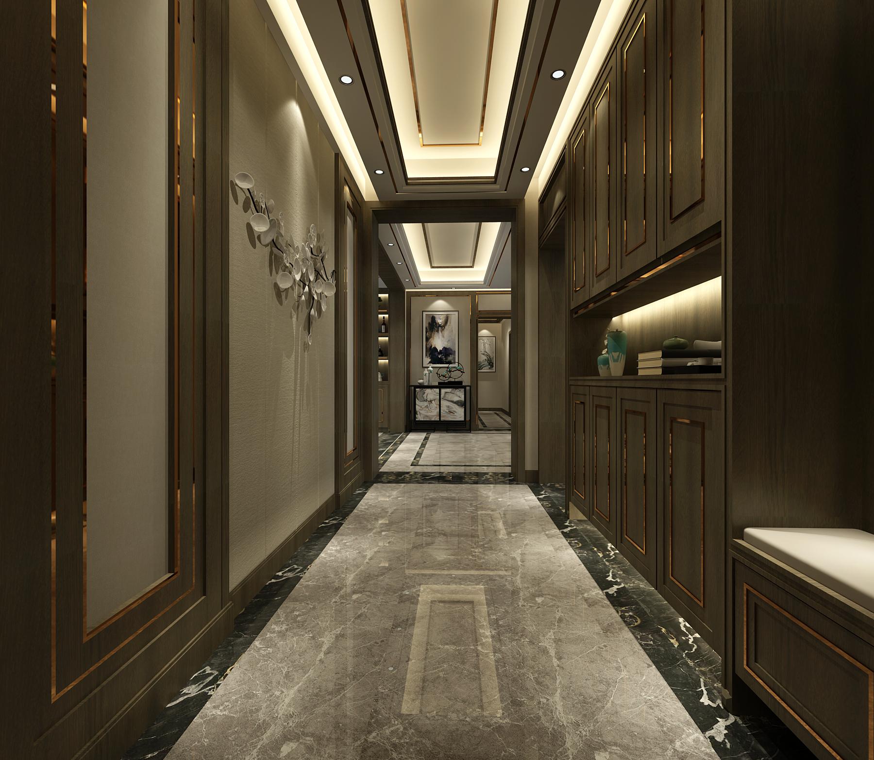 新中式风格四房玄关走廊装修效果图