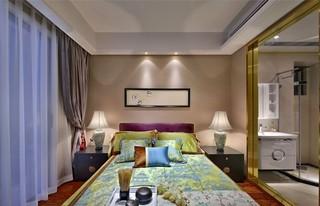 150㎡新中式三居卧室背景墙装修效果图