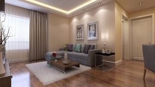 88平简约风格沙发背景墙装修效果图
