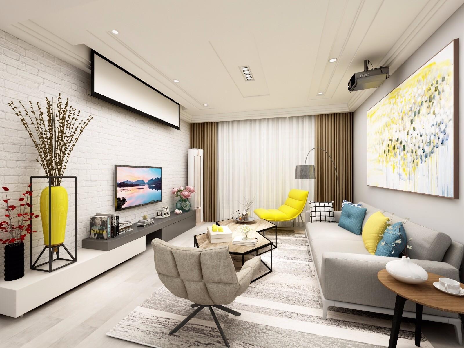 90平米简约风格客厅装修效果图