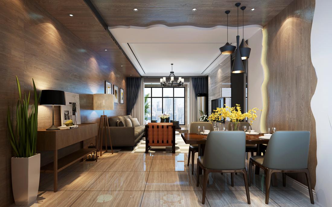 130平米混搭风格客餐厅装修效果图