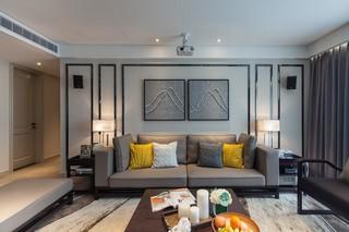 现代混搭风三居室沙发背景墙装修效果图