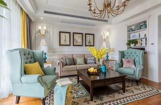 美式风格三居室装修设计图