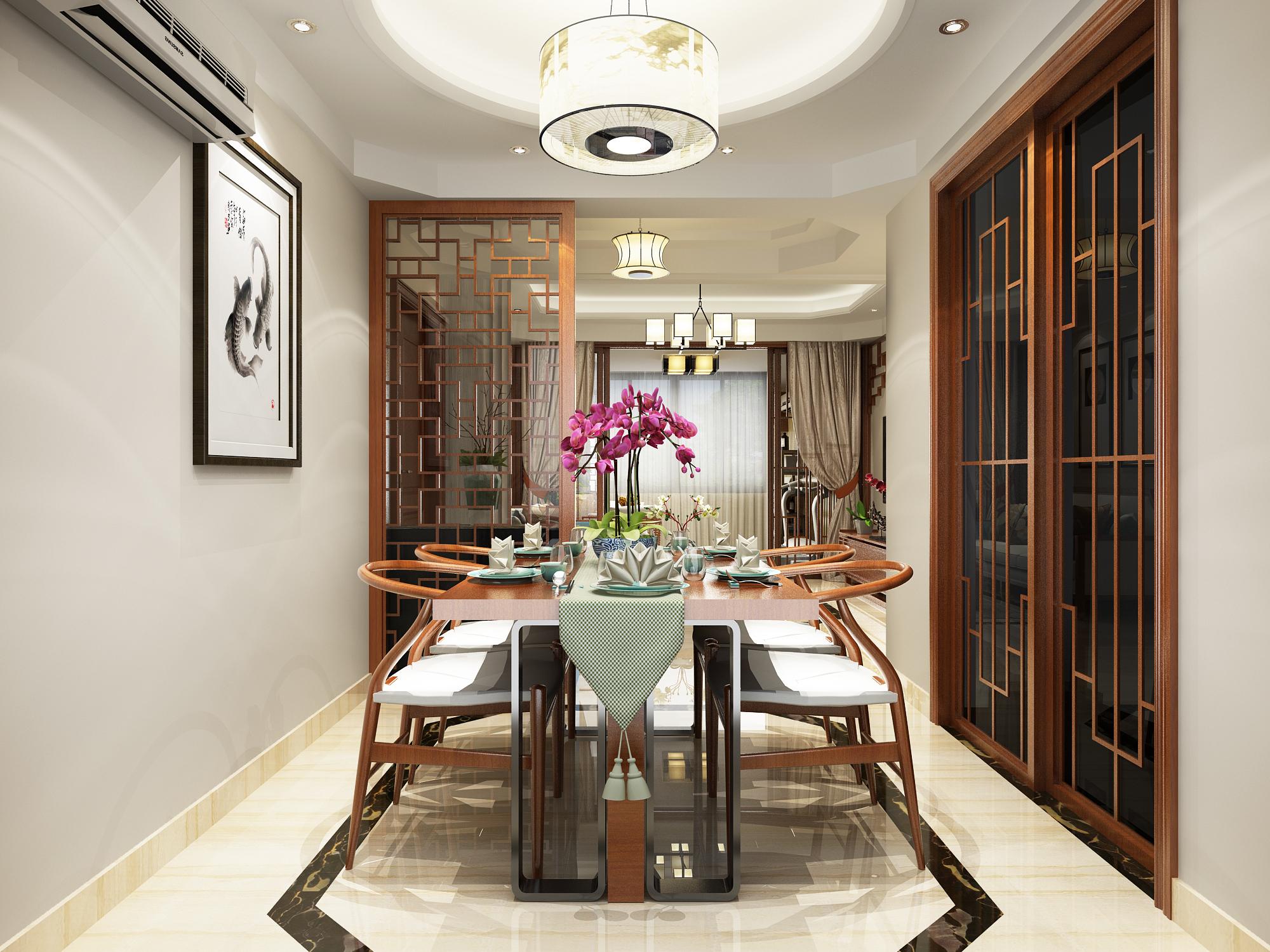 120㎡新中式风格餐厅装修效果图