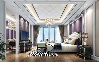 简欧风格别墅卧室装修设计效果图