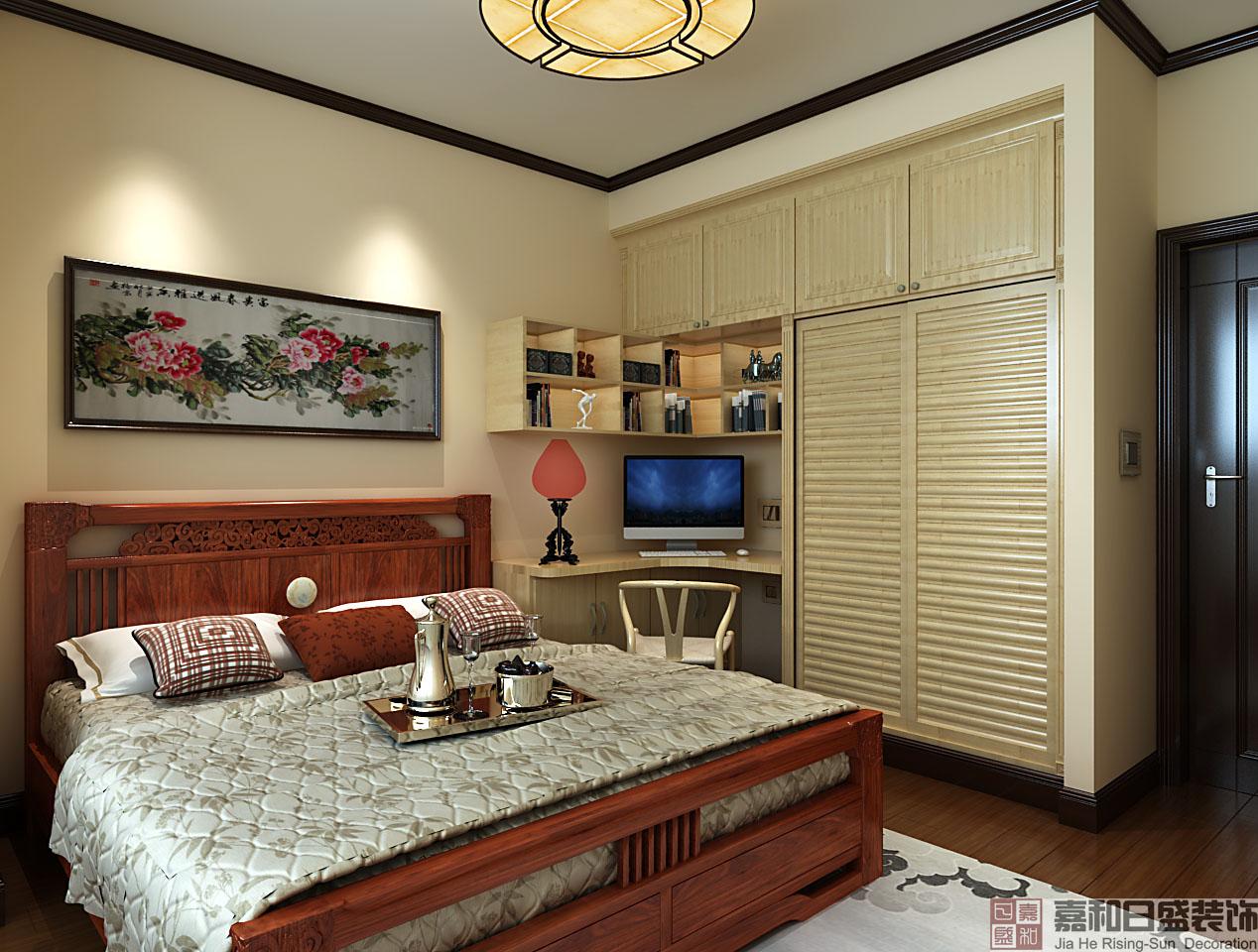 中式风格三居卧室装修效果图