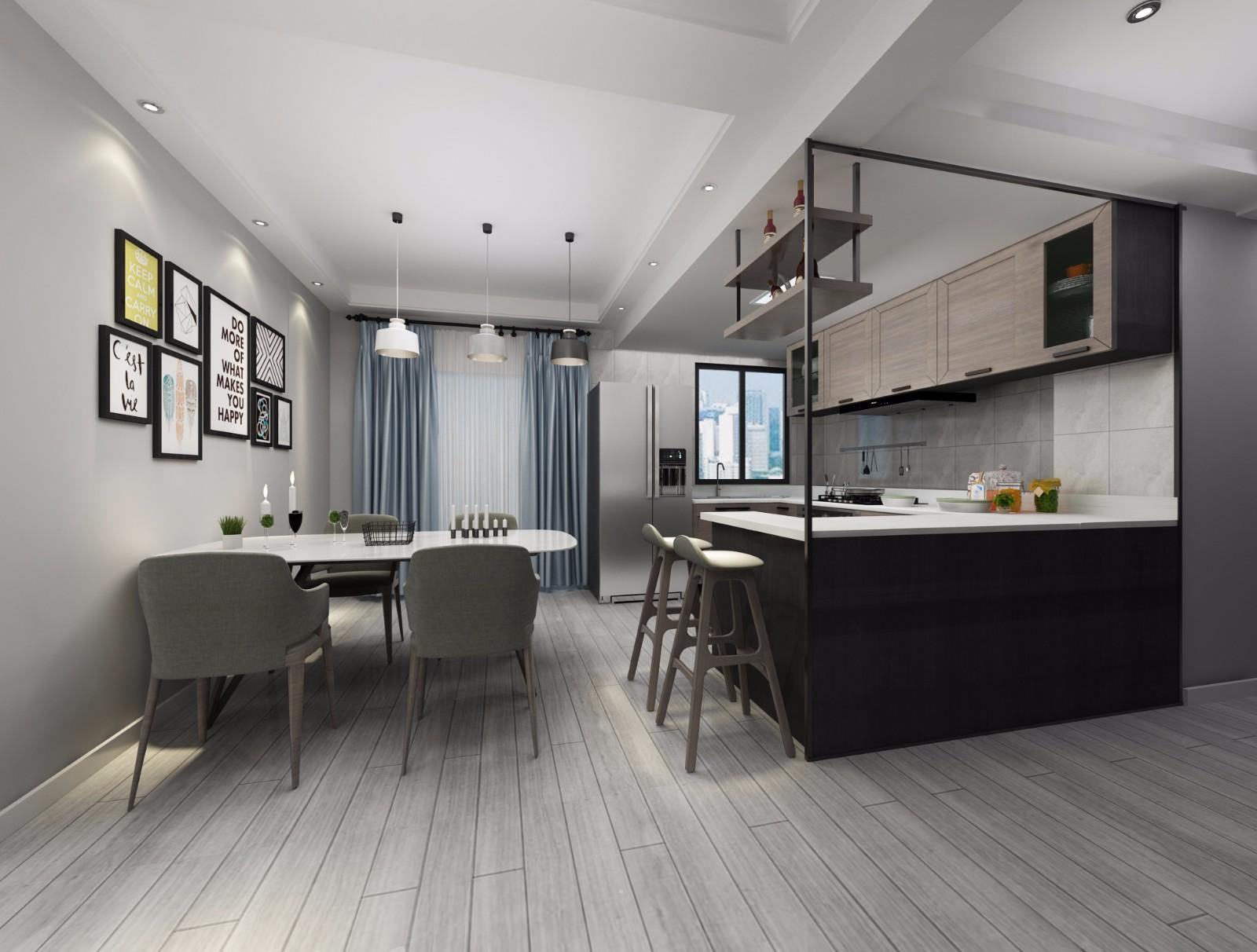 黑白灰现代简约风厨餐厅装修效果图