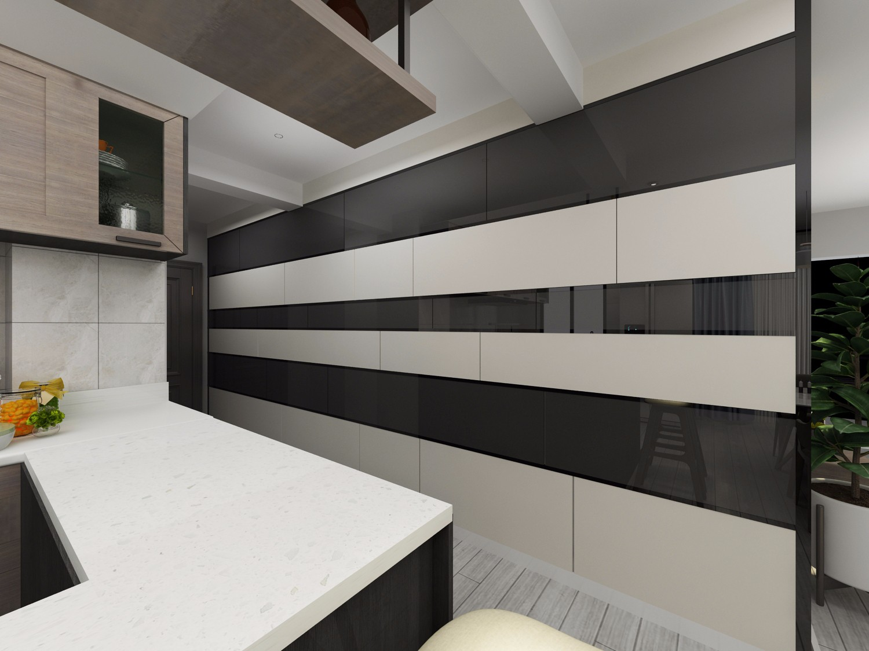 黑白灰现代简约风玄关装修效果图