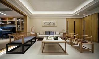 现代中式风三居沙发背景墙装修效果图