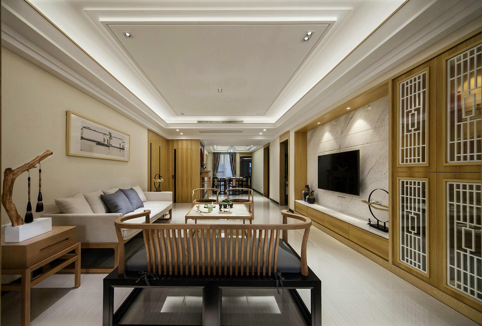 现代中式风三居客厅装修效果图