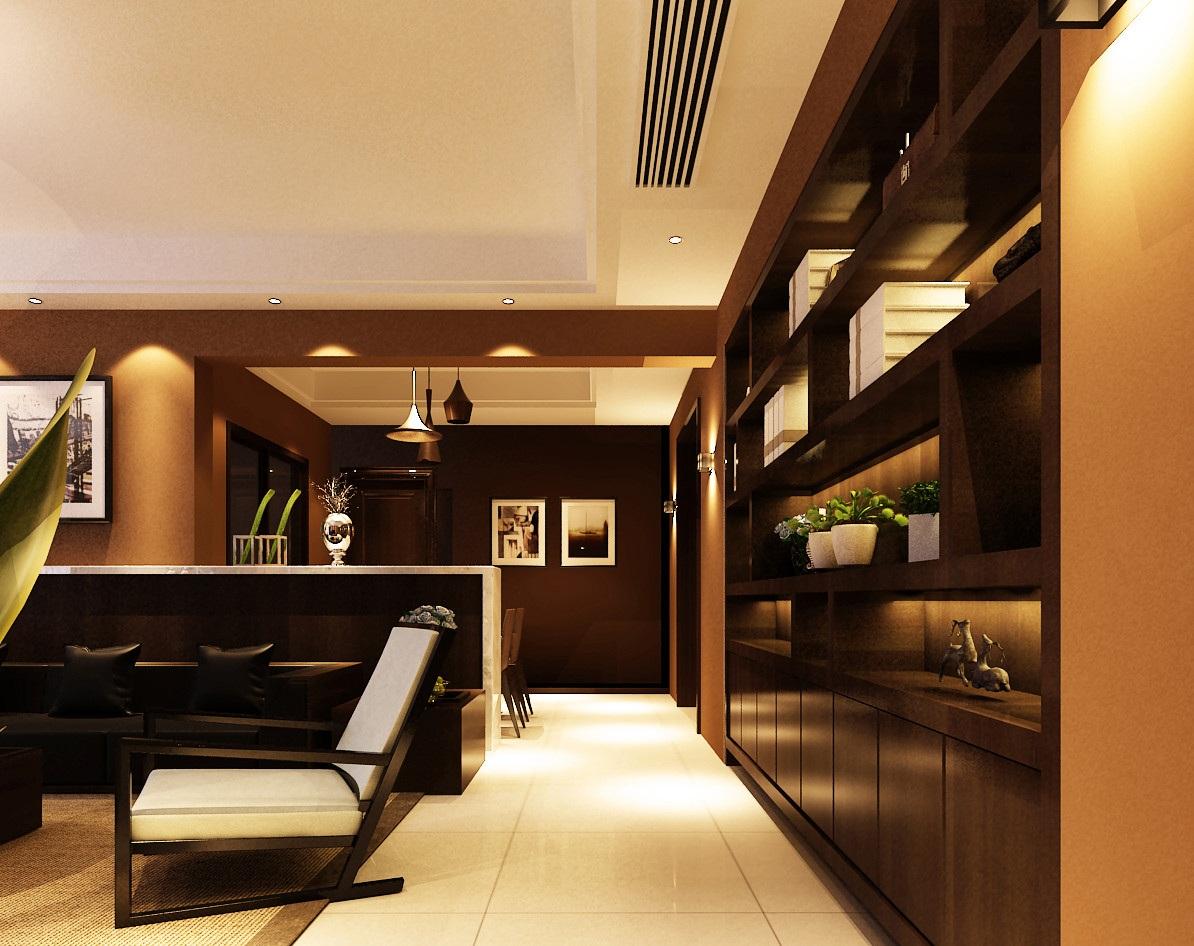 120平后现代风格客厅过道装修效果图