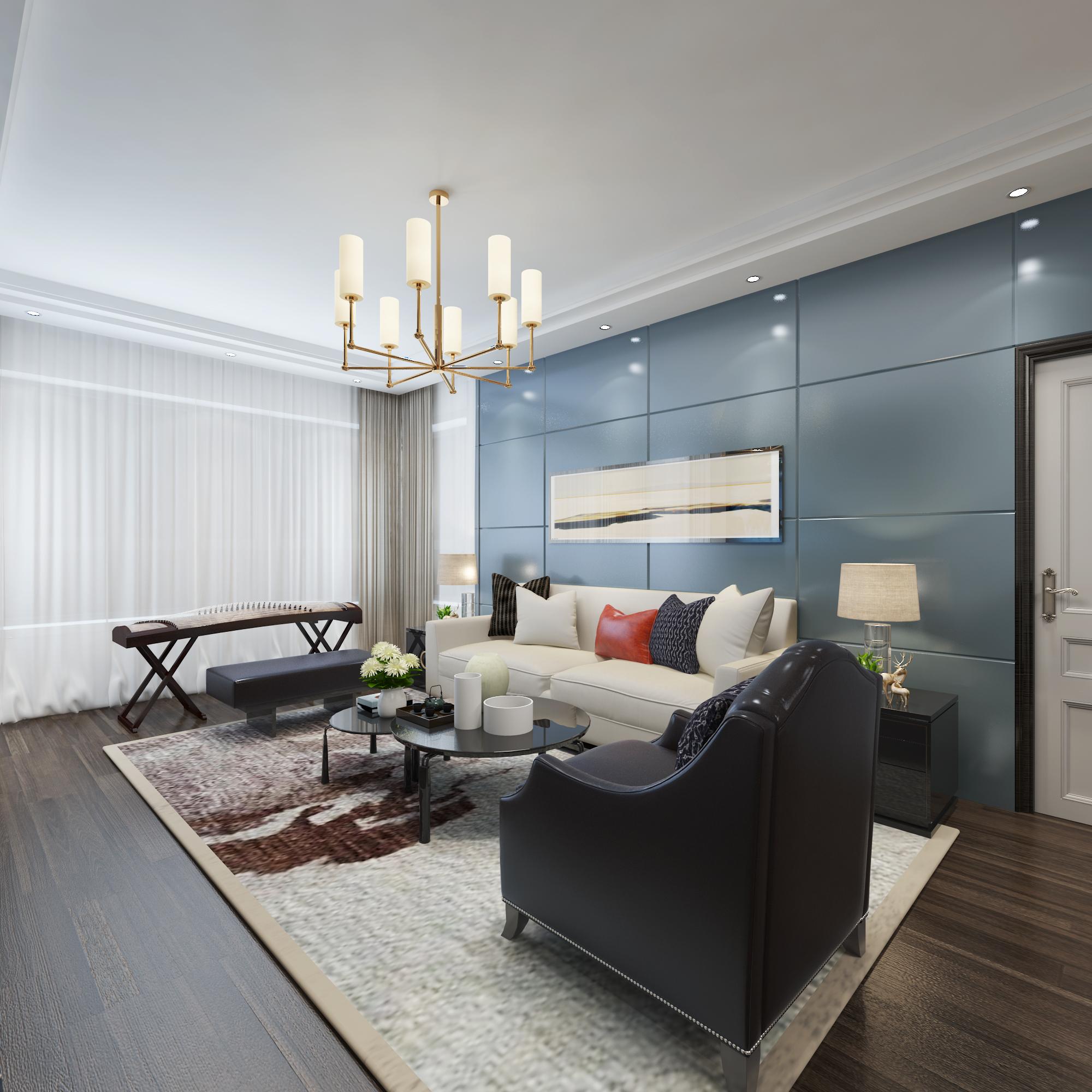 120㎡混搭风格沙发背景墙装修效果图