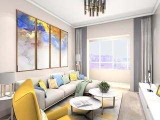 80平米兩居室客廳裝修效果圖