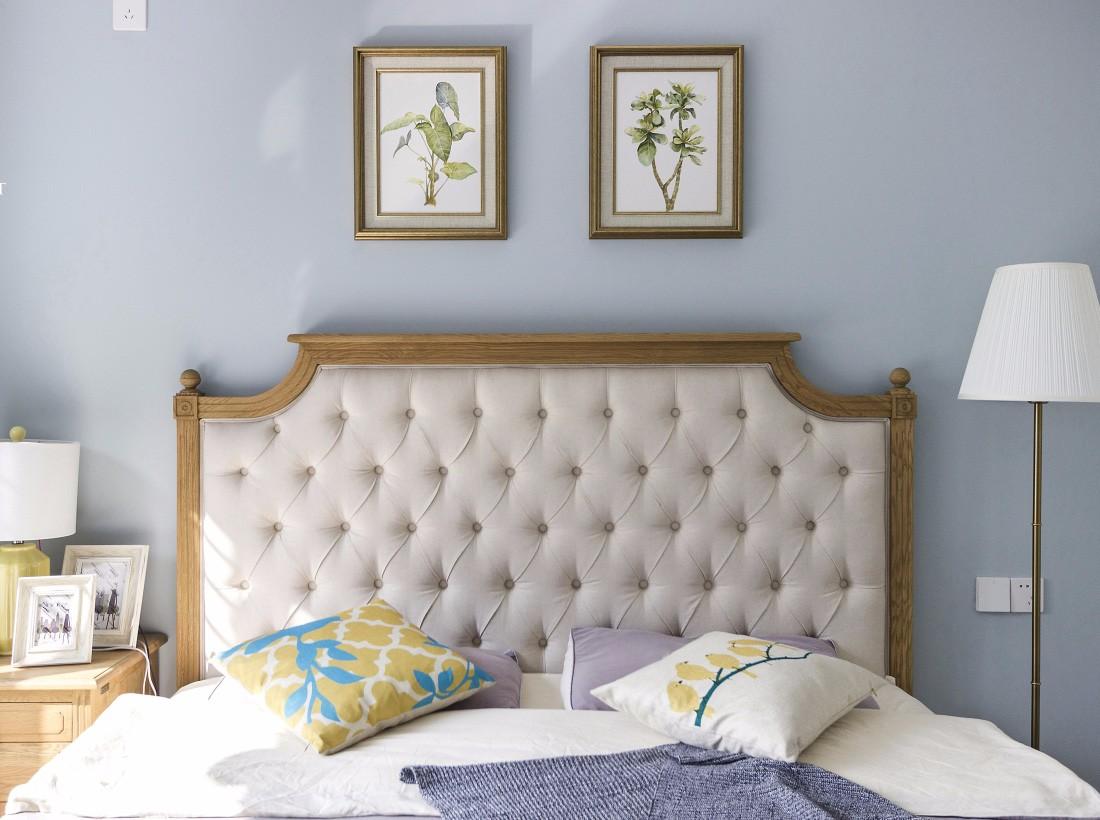 现代美式风格床头背景墙装修效果图