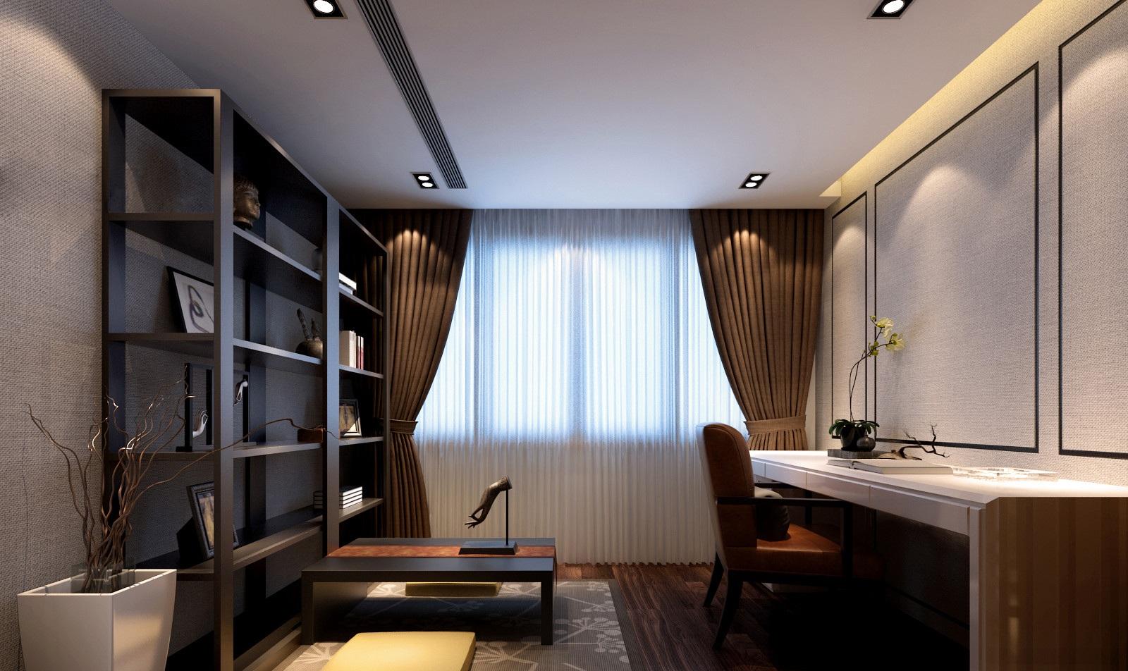 现代中式风格书房装修效果图