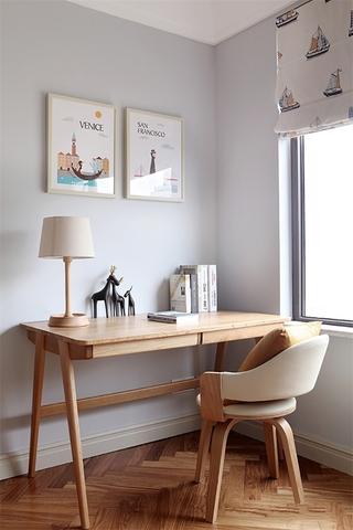 简约原木色书桌设计图