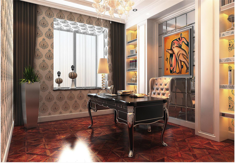 130平欧式风格书房装修效果图