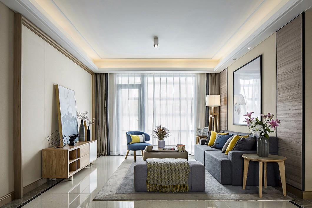 现代简约两居客厅装修设计图