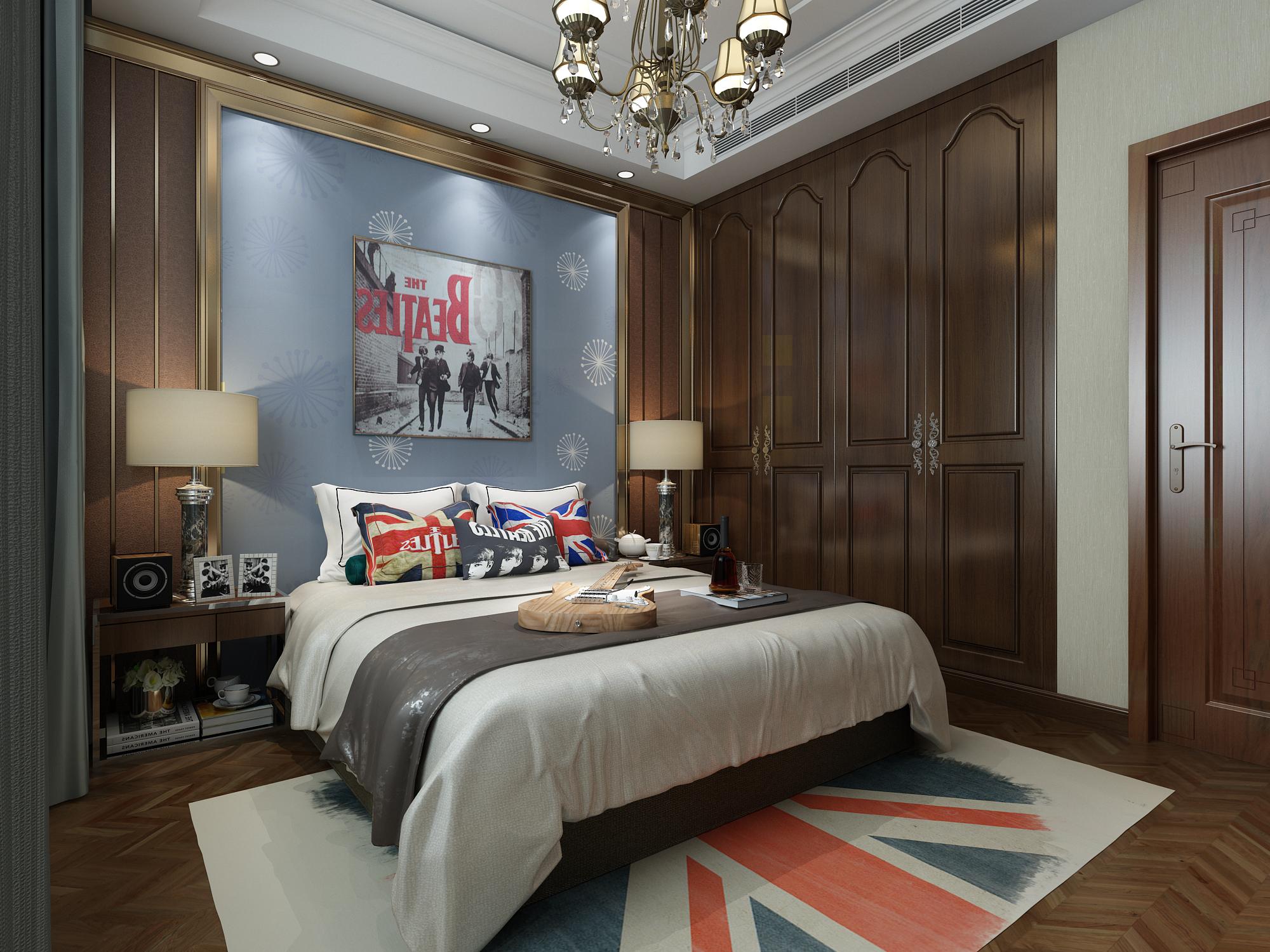 中式混搭风格别墅卧室装修效果图
