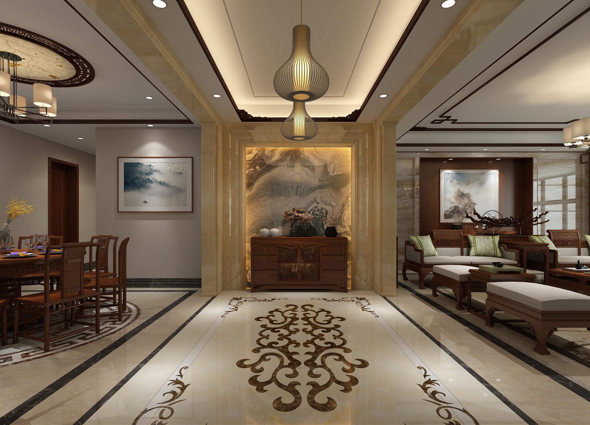 中式混搭风格别墅门厅装修效果图